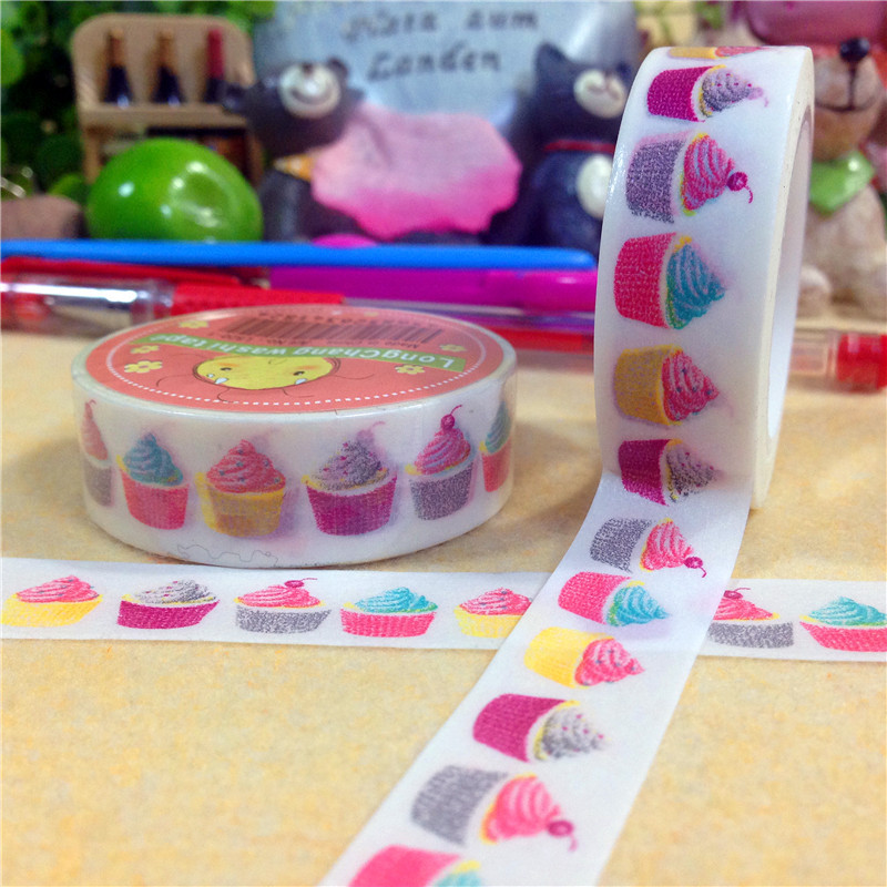 Гаджет  1roll Kawaii japanese Washi Tape Masking Decorative Tape Scrapbooking Tape Adesivo, pattern of Cake, 15mm*9m , cute Stationery None Офисные и Школьные принадлежности