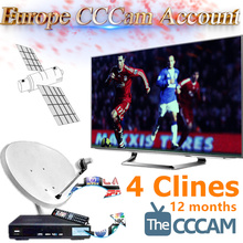 1 Year Best CCcam Europe 4 Cline Server  Satellite Decoder Spain UK Germany France Morocco Algeria Free 4 in1 RCA Cable DHL Ship(China (Mainland))
