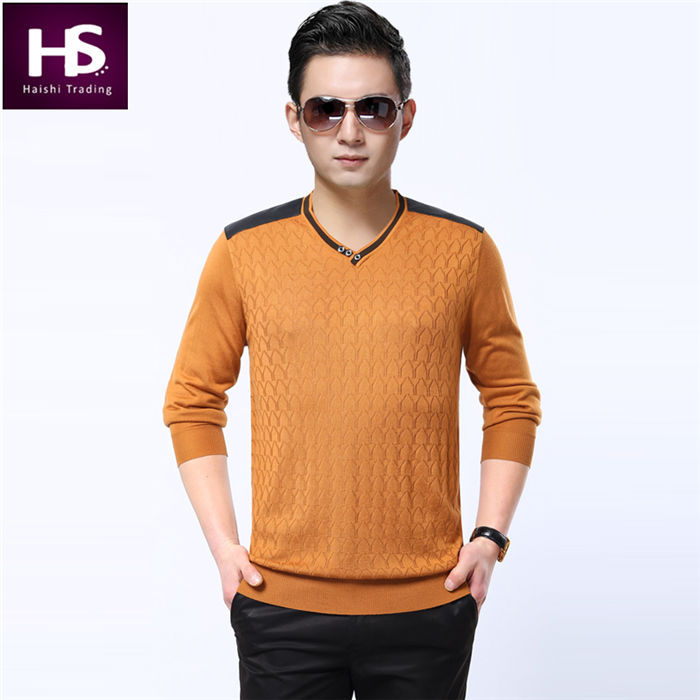 2015 New Cashmere Sweater Men Brand V Neck Mens Sweaters And Pullovers Knitted Pullover Men Pull Homme Sueter Leather Shoulder(China (Mainland))