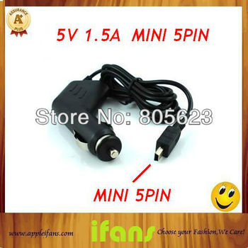 Long 1m Mini USB 5Pin Car Charger Travel Charger For Ainol novo7 Tablet PC Other Car DVR GPS 50PCS/lot