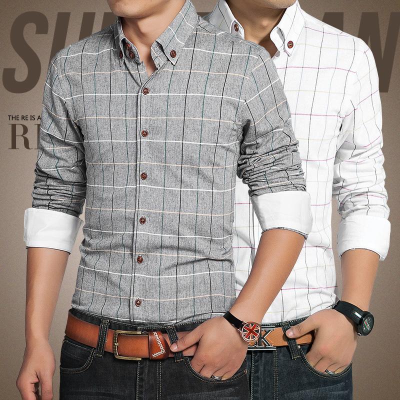 Men s Clothing High Quality 2016 Spring new men font b plaid b font long sleeved