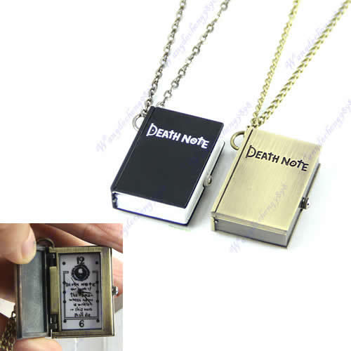 Cosplay Death Note Pendant Necklace Vintage Bronze Quartz Wrist Pocket Watch Clock(China (Mainland))