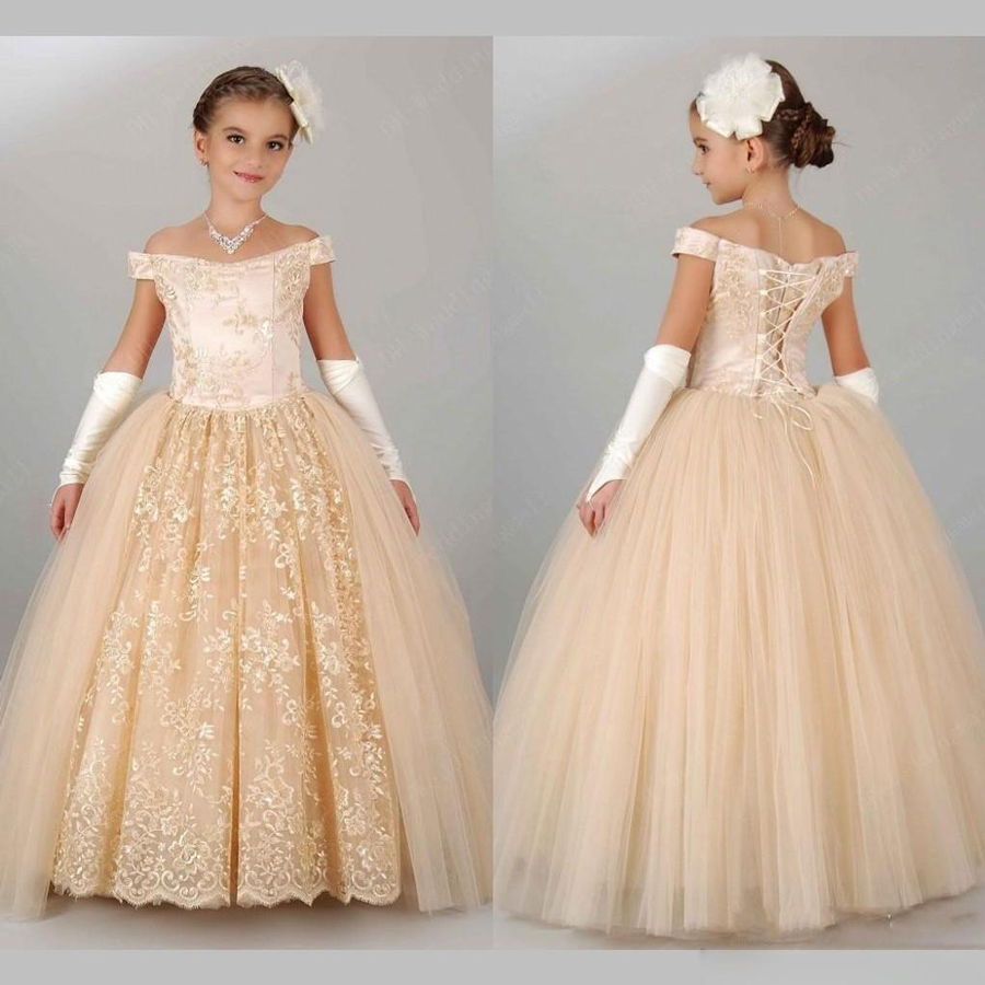 Vintage champagne pageant dresses for girls 2016 off for Flower girls wedding dress