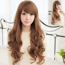 Wholesale& heat resistant LY free shipping>>>Sexy Womens Long Wavy Hair Full Cosplay Party Costume Dress Girls Wig