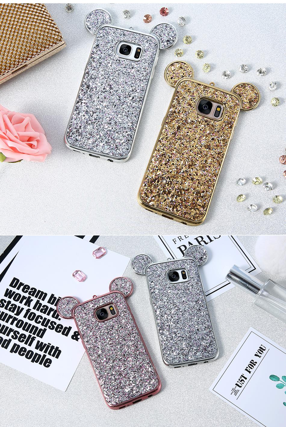 Корпус для KISSCASE Samsung Galaxy S8 Plus S6 S7 Edge Mickey Mouse Плакировочная рамка edge Edge|case for samsung Glitter TPU Case 023 (4)