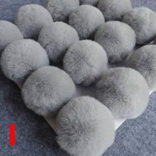 8 CENTÍMETROS Nenhum Coelhinho Anel Chave Chaveiro Fofo Pom Pom Pompom Lâmpada Saco de Mulher Lã Bola de Cabelo De Pele de Coelho Artificial chaveiros(China)