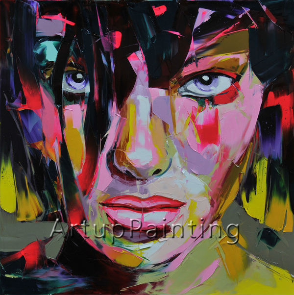 Palette knife painting portrait Palette knife Face Oil painting Impasto figure on canvas Hand painted Francoise Nielly Girl Face(China (Mainland))