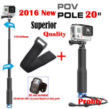 "New POV Pola 20"" Aluminum Telescopic Gopro Monopod stick Pole +Remote strap For Go Pro HERO 4,3+/2,SJ4000 XiaoMi Yi SJCAM Camera(China (Mainland))"