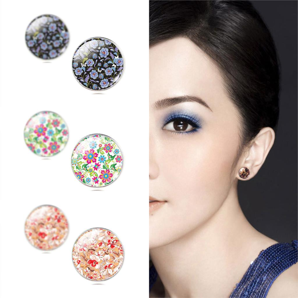 Vintage New Fashion Glass Cabochon Stud Earrings Fresh Flower Style Earrings for Women Women's Fashion Jewelry(China (Mainland))