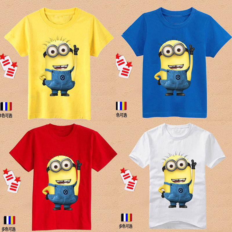 Cartoon Despicable me minions clothes children t shirts girl boys shirts children's clothing t shirts baby & kids wear free ship(China (Mainland))