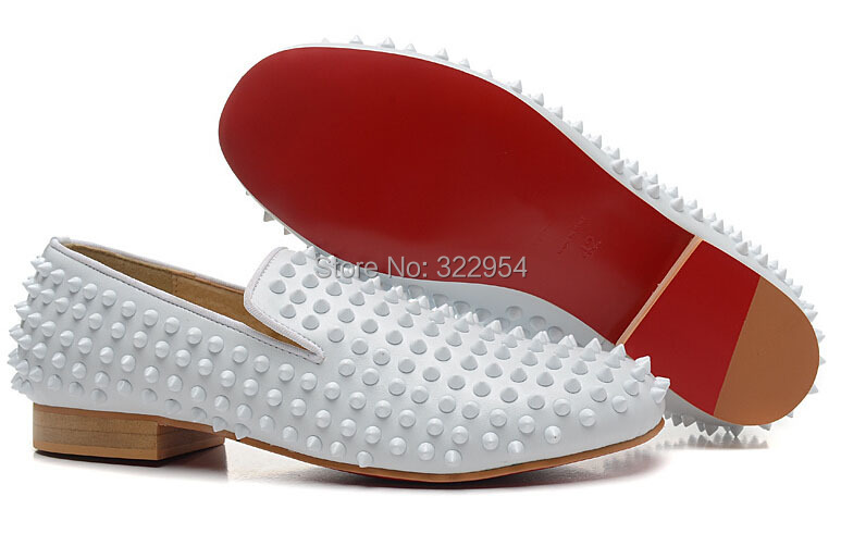 black christian louboutin mens sneakers - Aliexpress.com : Buy White leather spikes dress shoes red bottom ...