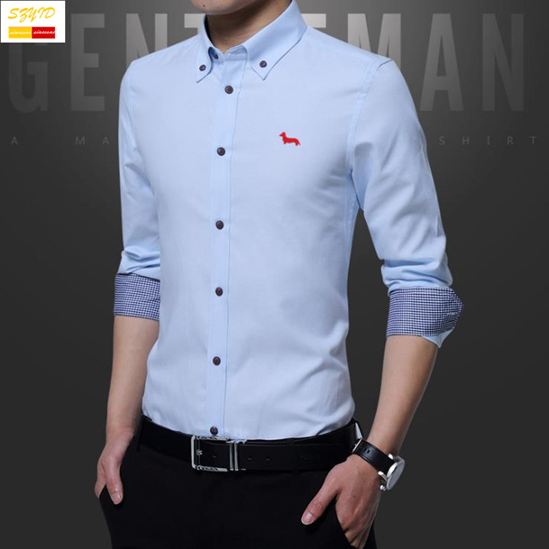 af02562539 Wholesale- Szyid Brand Clothing Spring Cotton Men Shirt Casual Solid ...