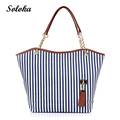 Fashion Girl Lady Street Tassel Women Bags Casual Vertical Striped Canvas Tote Shoulder Bag Large Capacity