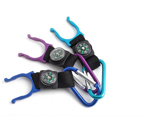 Carabiner Water Holder Bottle Clip Strap with Compass, Free shipping!(China (Mainland))
