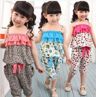 NEW Children Summer Clothing Sets Girls Spaghetti Strap leopard Top Twinset Casual Pants For 2-10 Years Old Bohemia Beach Set(China (Mainland))