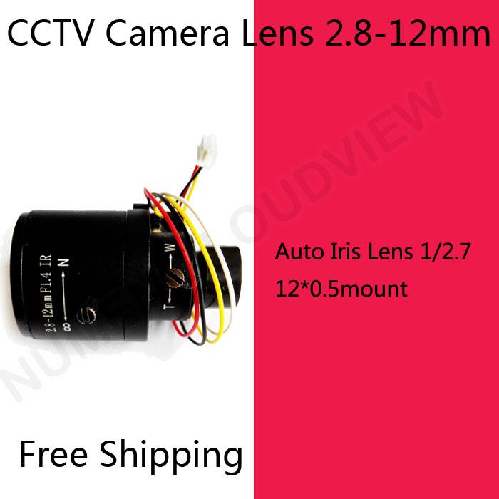 Free shipping cctv camera lens 2.8-12mm Auto Iris lens 1/2.7 12*0.5mount F1.4 2 Mega pixels lens for Security CCTV Camera<br><br>Aliexpress
