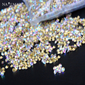 1400pcs 1 3mm Dazzling AB color Nail Rhinestones Mini Pointed Bottom Crystal Stones Nail Art Decoration
