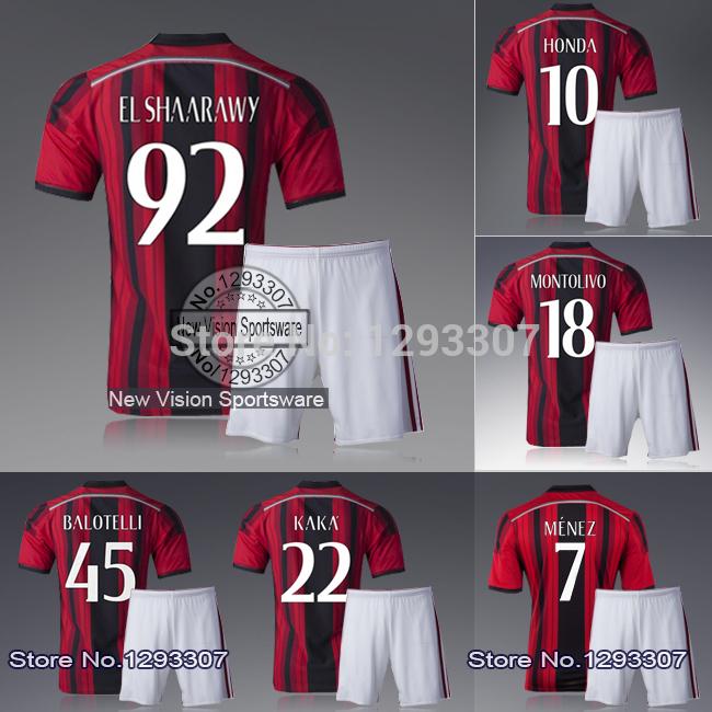 2014 15 Embroidery Milan Home Menez EL Shaarawy Montolivo Honda Soccer Jersey Set Men Sports Shirt Outfit Football Kit Uniform(China (Mainland))