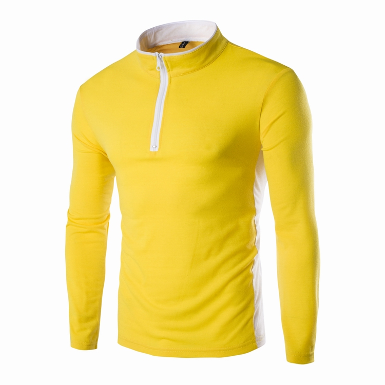 Free shipping Fashion mens t shirts 2016 autumn new spell color round neck long sleeve men shirt(China (Mainland))