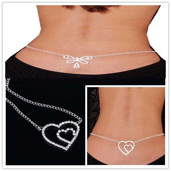 Body jewelry free shipping 10/lot mix 2style stainless steel heart and butterfly body chain jewelry sexy belly chain(China (Mainland))