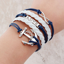 Vintage Braided Anchors Rudder bracelets Love owl best friends Leather Bracelets men jewelry heart Rope wrap Bracelets for women(China (Mainland))