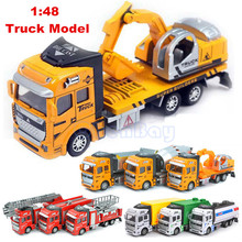 Buy Alloy & ABS Plastic 1:48 Pull Back Engineering Vehicle Sliding City Truck Car Model Fire Truck Toys Children Birthday Gifts for $9.00 in AliExpress store