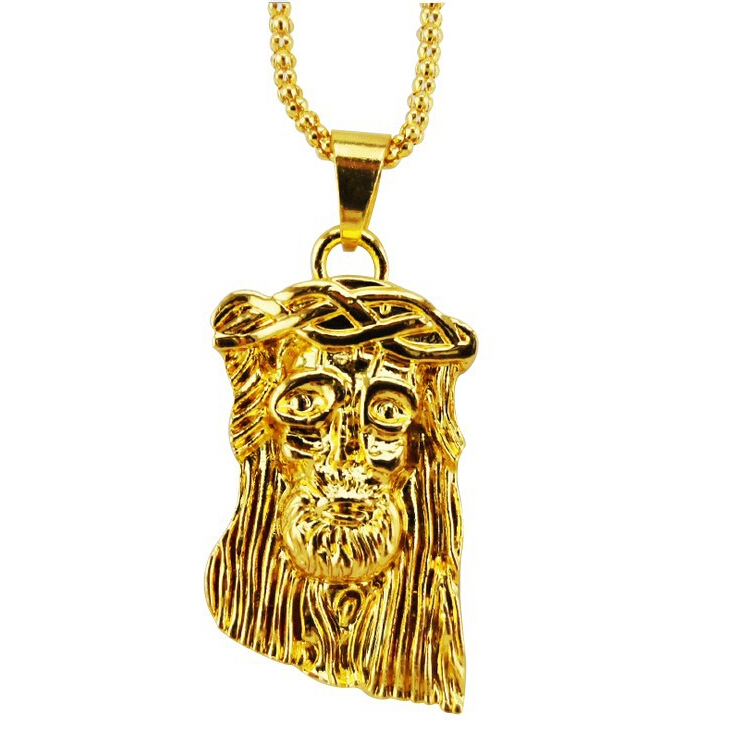 Hot gold filled jesus pendant necklace for men women hip hop jewelry gold chunky chain long necklace(China (Mainland))