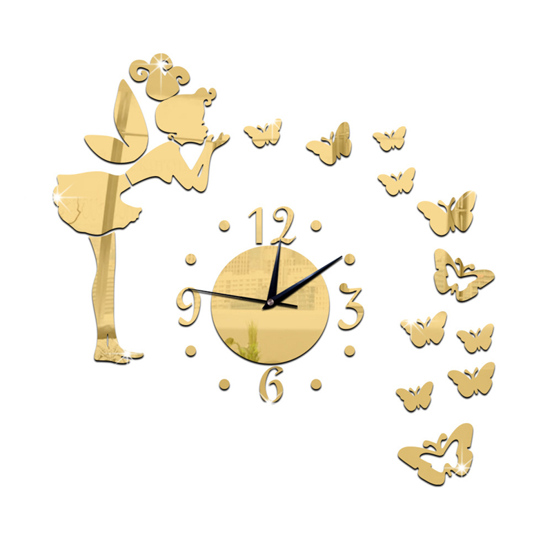 Creative Angel Butterfly Wall Clock Removable DIY Acrylic 3D Wall Decal Mirror Wall Sticker Home Decorative Mirror wc1142(China (Mainland))