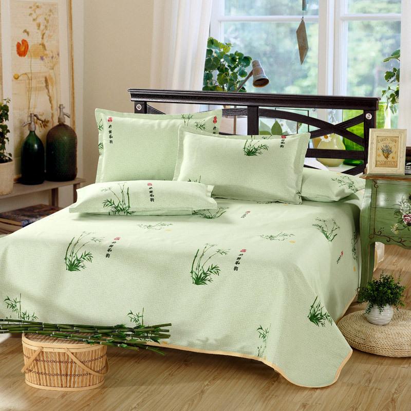 Sábanas de algodón de impresión de Bambú de estilo chino, 1 unid sábana + 2 unid funda de almohada estera el dormir Del Verano, plegable, lavable a Máquina sábana(China (Mainland))