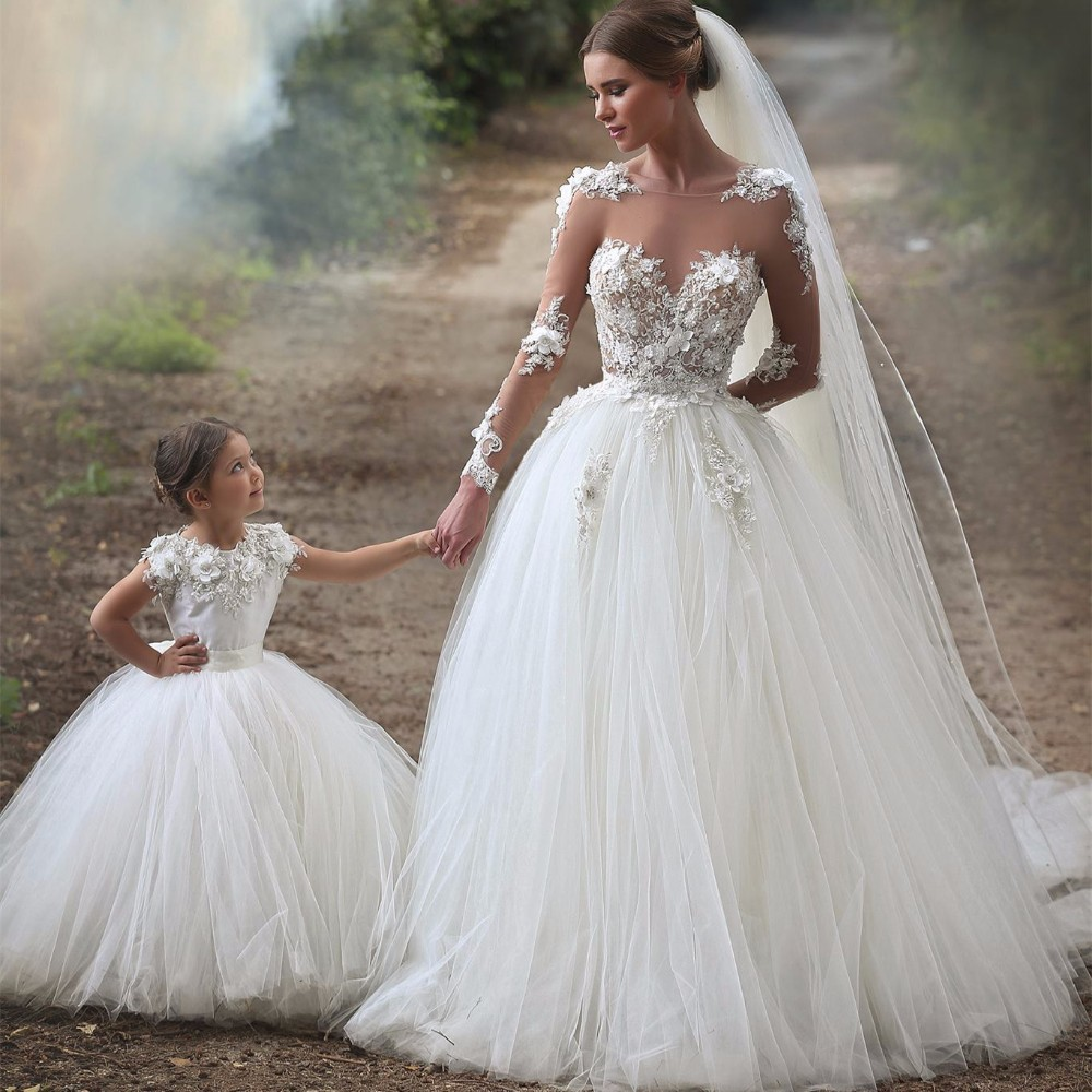 Vintage Wedding Dress with Sheer Long Sleeves Ball Gown Appliques ...
