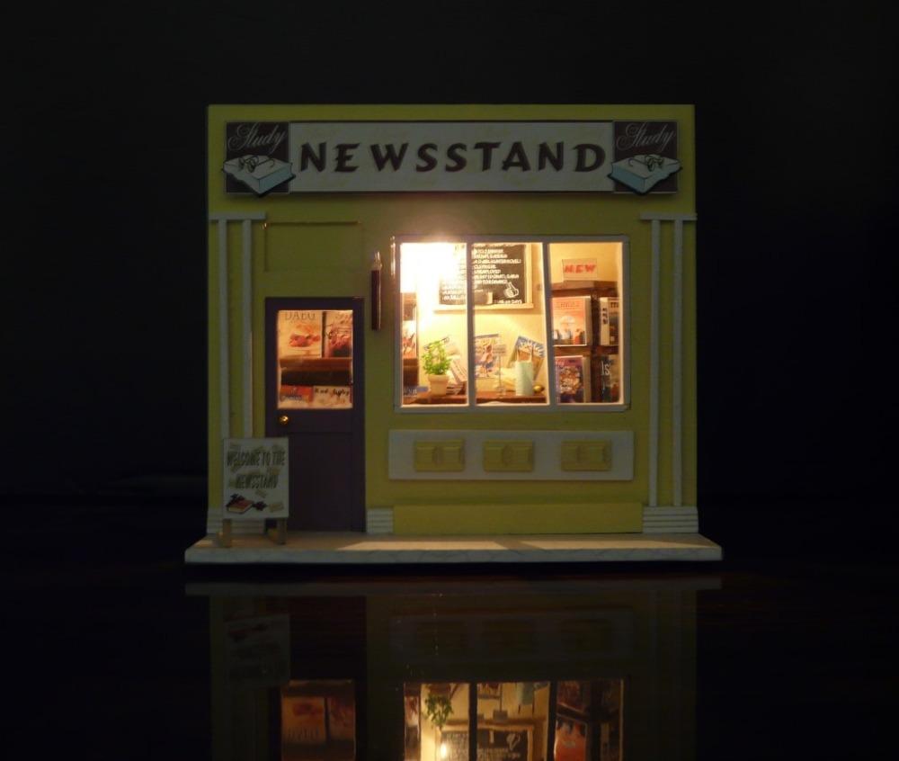 European Magazine Shop Diy Wood Doll House Miniature