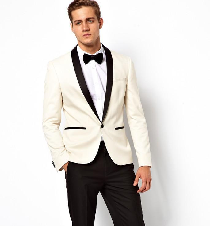 New Arrival White Ivory Wedding Suits For Men Tuxedos Black Satin Shawl Lapel Mens Suits Slim Fit Groomsmen Suit Two Piece SuitОдежда и ак�е��уары<br><br><br>Aliexpress