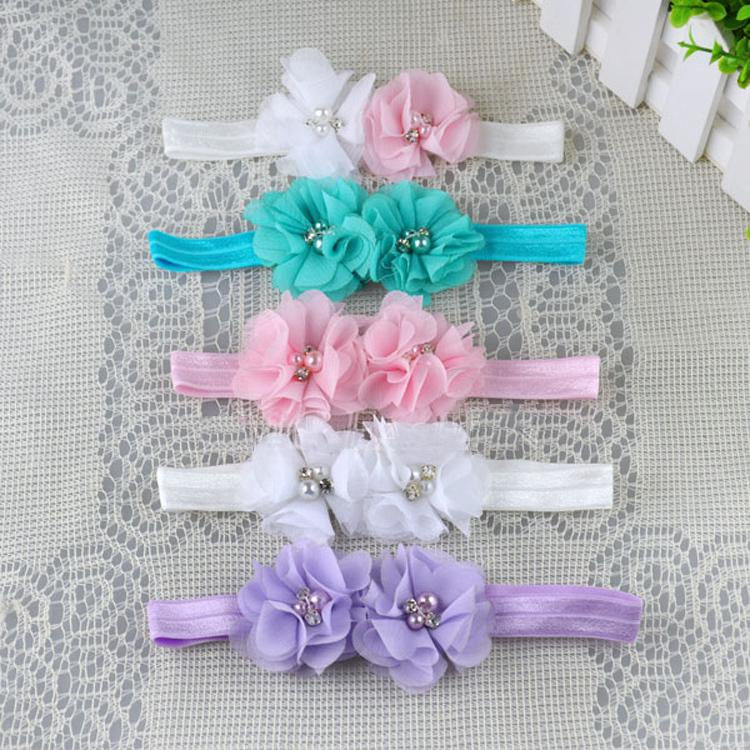 Fashion Polyester Fiber Soft Elastic Flower Shaped Baby Girls Hairband Charming Hair Accessories BB-103(China (Mainland))