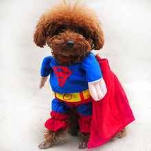New Lovely Cat Dog Clothes Dog Costume Superman Jumpsuit Pet Suit Puppy Apparel Winter Clothes XS S M L XL XXL Free Shipping 30(China (Mainland))