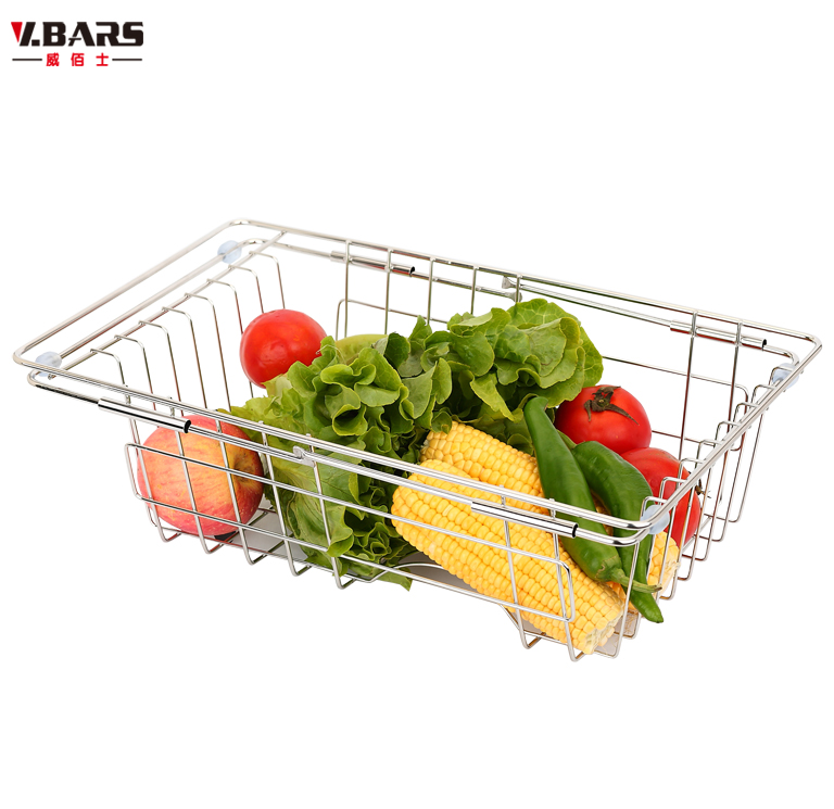 304 stainless steel drain basket dishes water drip rack storage shelf bowl rack sink vegetables basket retractable(China (Mainland))
