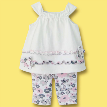 2016 Summer Baby Girl Clothing Set Cotton White Floral Vest + Butterfly Leggings Carter Newborn Infant Bebe Clothes