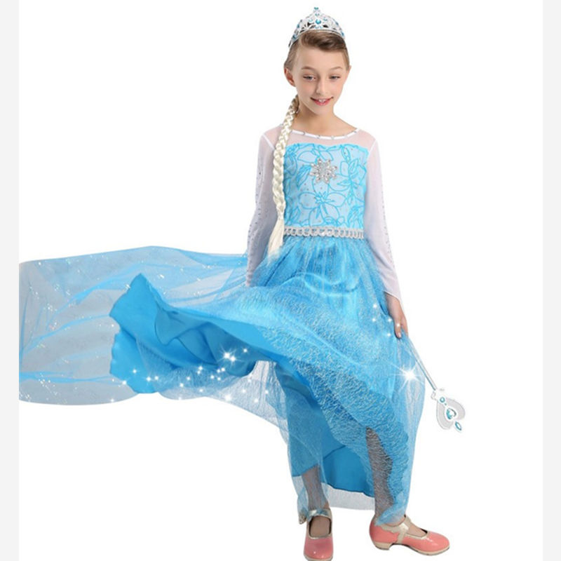 2016 Summer New Children Dresses For Girls Elsa Dress Princess Anna Cosplay Costume Baby Kids Clothing Vestido Infantis of Elsa(China (Mainland))