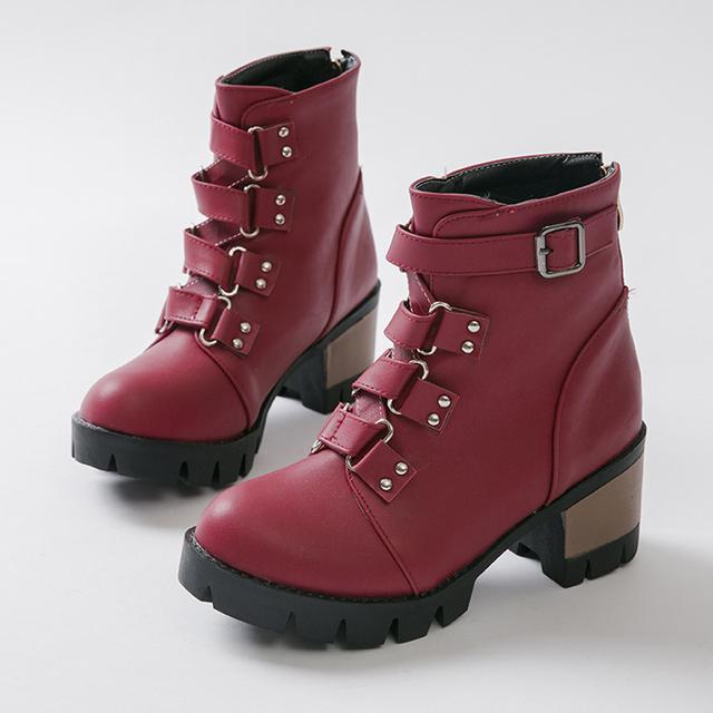 Женщин сапоги ботильоны женская осень круглый носок толстые высокие каблуки сапоги ...