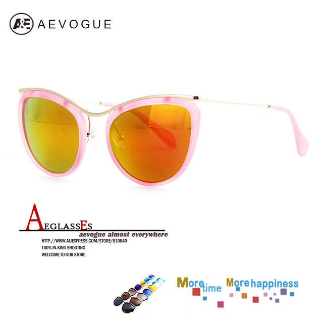 Aevogue бесплатная доставка старинные марки Cat Eye солнцезащитные очки женщины горячая распродажа металла храм солнцезащитные очки óculos UV400 AE0215