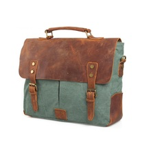 Retro canvas genuine leather bags