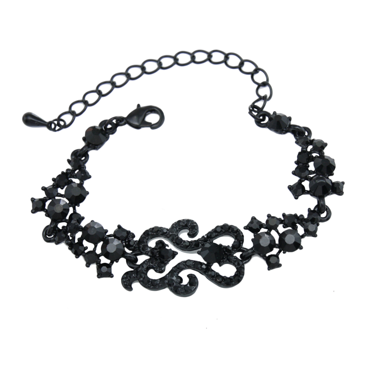 Vintage Black Crystal Bracelets for Women 2016 Metal Rhinestones Black Stone Charm Bracelet Women Punk Jewelry Retro brt-j95(China (Mainland))