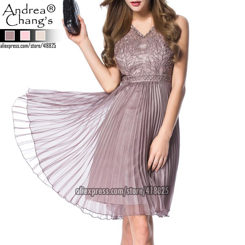 2015 spring summer designer women dresses lavender beige pink beaded flower embroidery top pleated hem fashion brand event dress(China (Mainland))