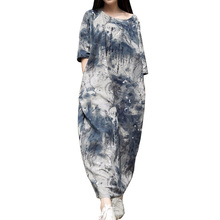 Casual Dress 2015 Spring Summer Dress Women Blue White Ink Robe Vintage Print Long Loose Cotton Linen Dress Maxi Dress 0145(China (Mainland))
