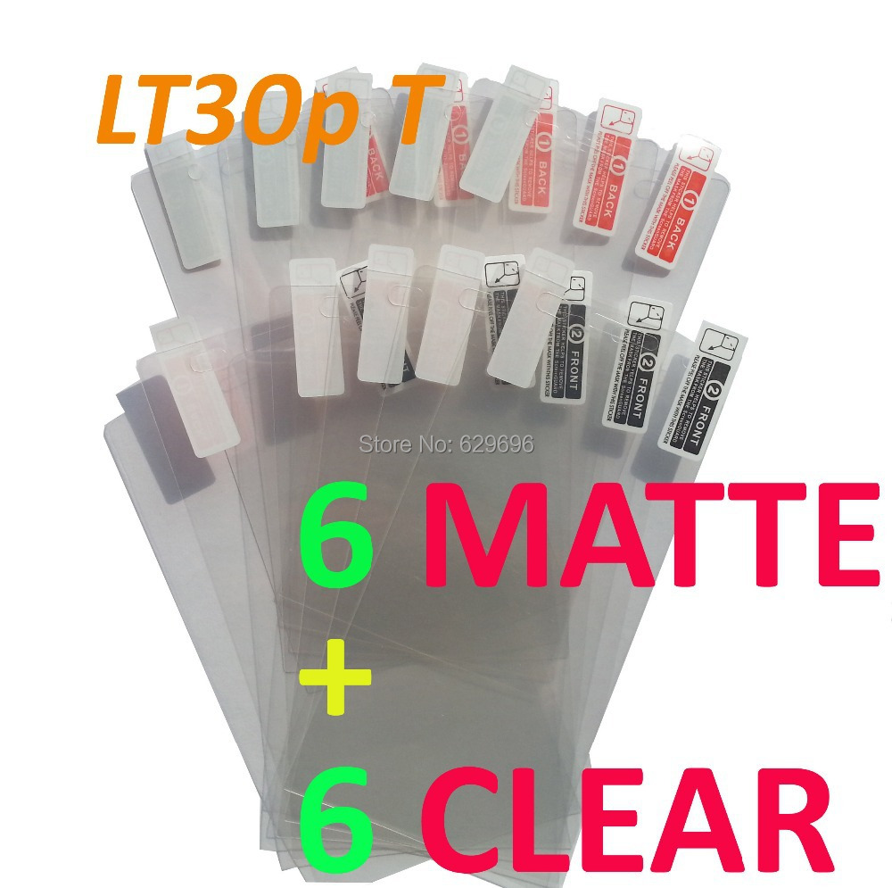 6pcs Clear + 6pcs Matte protective film anti-glare phone bags cases screen protector For SONY LT30p Xperia T(China (Mainland))