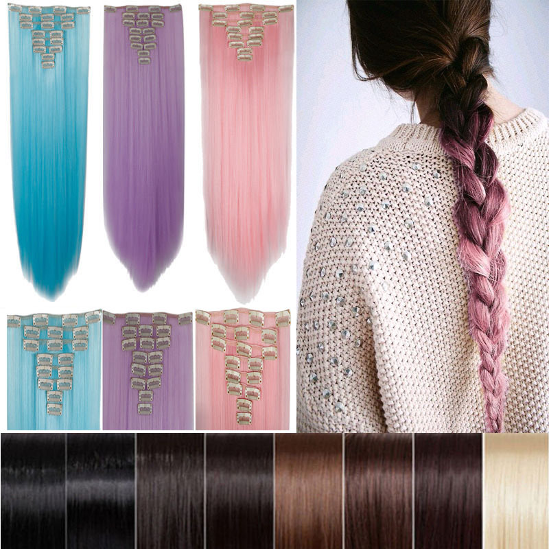 """26"""" 66cm Women Long Straight Clip in hair Extentions 8PCS Full Head hair Extension 100% real thick brown pink red purple blue(China (Mainland))"""
