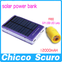 100% real 12000mAh New Solar Power Bank External battery solar charger (power bank + USB LED flashlight + power bank case)(China (Mainland))