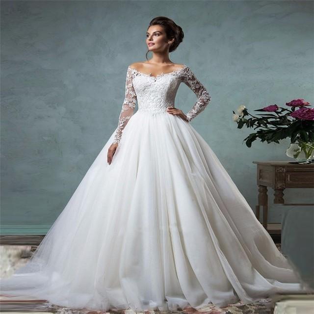 Изящные off-the-плечи с длинным рукавом кружева свадебное платье с кнопками на спине ...