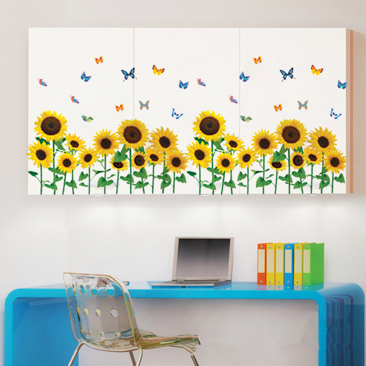 High quality sunflower wall stickers promotion shop for for Sunflower bedroom decor