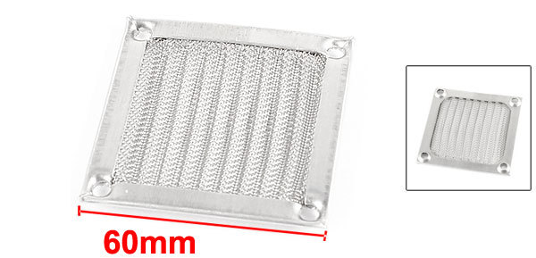 PC Computer Silver Tone Aluminum Dust Guard Meshy Fan Filter 60mm(China (Mainland))