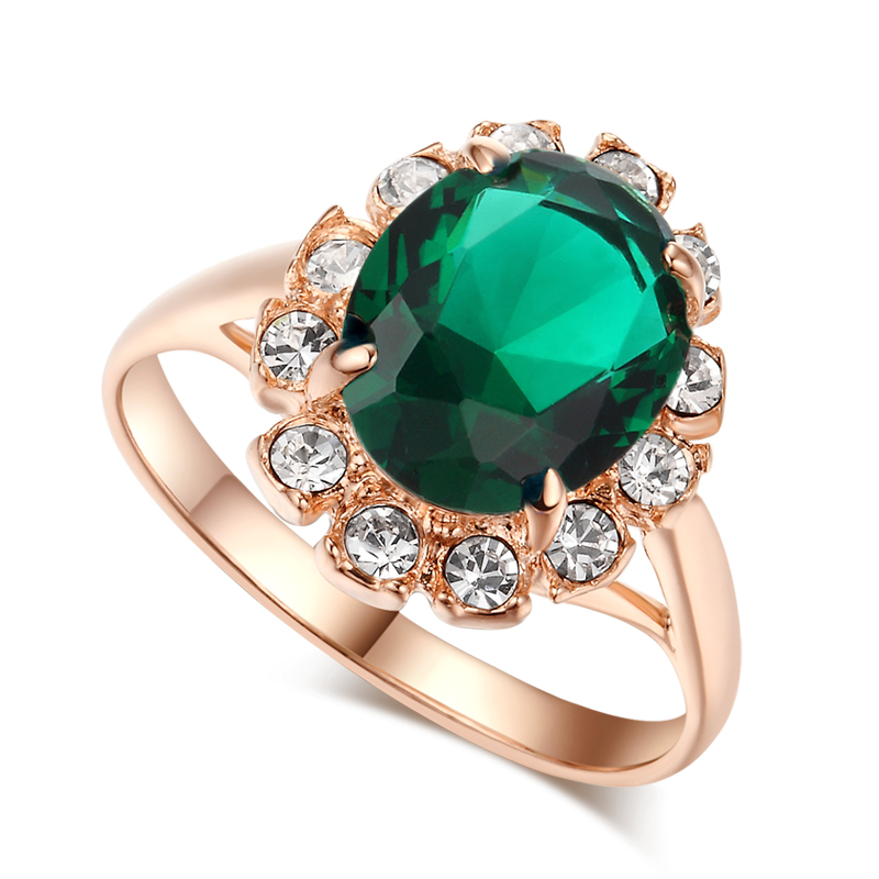 top quality 18k gold plated emerald finger rings